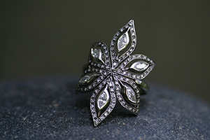 Recycled Platinum Floating Marquise Flower Ring with Ethically Sourced Diamonds, shield
