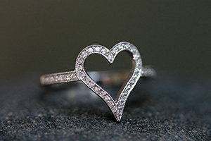 Recycled Platinum Open Heart Ring with Ethically Sourced Diamonds