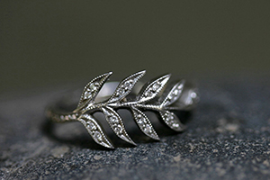 Recycled Platinum Wheat Sheaf Ring with Ethically Sourced Diamonds, leaf, leaves