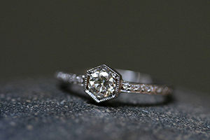 Recycled Platinum Hexagonal Bezel Set Ring with Ethically Sourced Diamonds, solitaire, hex, wedding, engagement