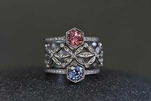 Recycled Platinum Hexagonal Solitaire Ring with Ethically Sourced Pink Sapphire and Diamonds, Recycled Platinum Seed Petal Band with Ethically Sourced Diamonds, Recycled Platinum Hexagonal Solitaire Ring with Ethically Sourced Blue Sapphire and Diamonds, solitaire, colored stone, wedding, engagement, nesting, colored