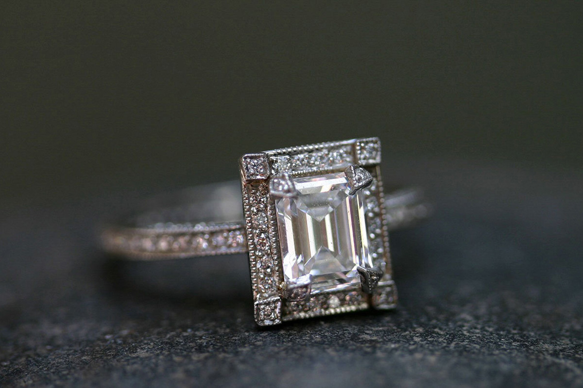 Recycled Platinum Pave Frame Ring with Ethically Sourced Emerald Cut Diamond and White Diamonds, solitaire, thorn, wedding, engagement