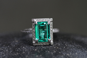 Recycled Platinum Pave Frame Ring with Ethically Sourced Emerald and Diamonds, thorn, colored stone, solitaire, wedding, engagement, colored