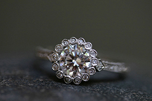 Recycled Platinum Scalloped Frame Solitaire Ring with Ethically Sourced Diamonds, solitaire, wedding, engagement