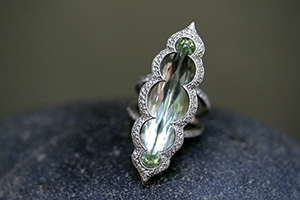Recycled Platinum Chrysalis Ring with Ethically Sourced Green Aqua and Diamonds, colored stone, colored