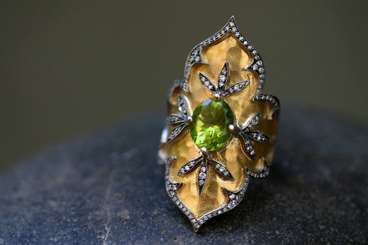 22K Recycled Gold and Blackened Platinum Topkapi Ring with Ethically Sourced and Diamonds, yellow, mixed metal, colored stone, overlay, shield, colored