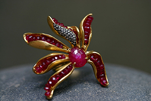 22K Recycled Gold Ruby Beaded Flower Petal Ring with Ethically Sourced Ruby and Diamonds, colored stone, yellow, petal, nature, organic, colored