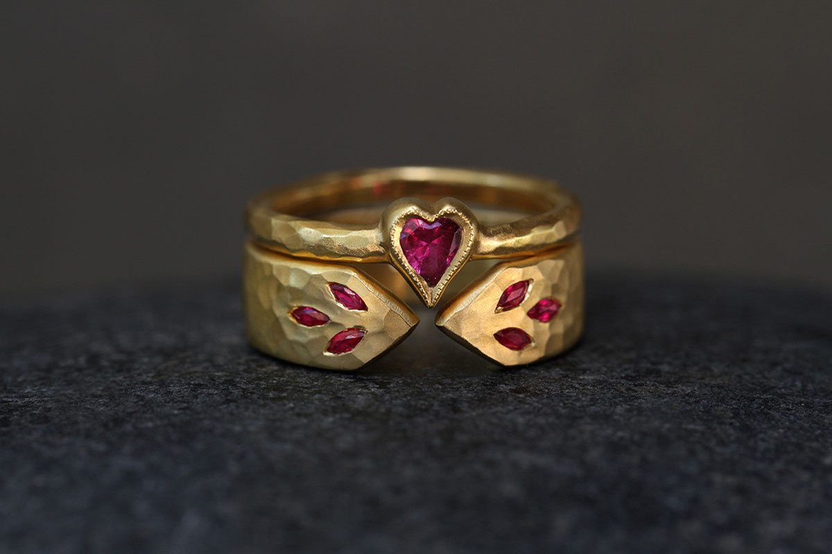 22K Recycled Gold Heart Ring with Ethically Sourced Pink Sapphire, 22K Recycled Gold Narrow 3 Leaf Arrow Band with Ethically Sourced Rubies, yellow, colored stone, nesting, colored, hammered