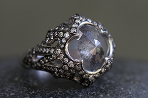 Blackened Recycled Platinum Column of Tears Ring with Ethically Sourced Mysterious Lake and White Diamonds, rough, rustic, cut out