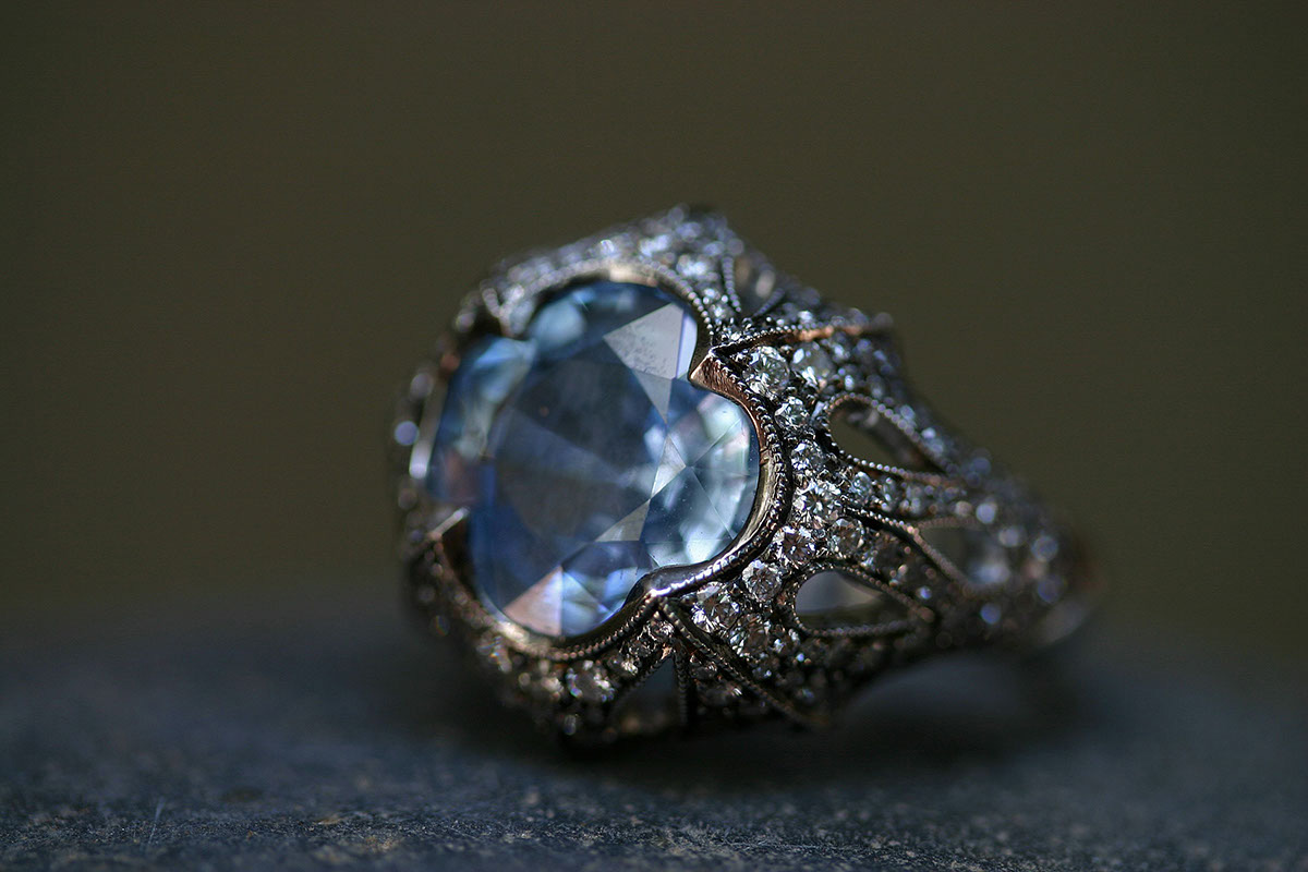 Blackened Recycled Platinum Column of Tears Ring with Ethically Sourced Natural Blue Sapphire and Diamonds, colored stone, cut out, colored