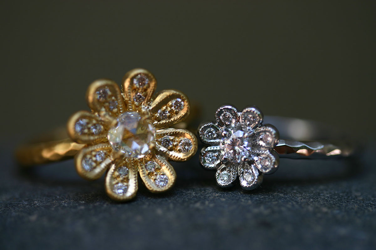 22K Recycled Gold Daisy Ring with Ethically Sourced Rose Cut and White Diamonds, Recycled Platinum Daisy Ring with Ethically Sourced Diamonds, yellow, mixed metal, flower, solitaire, wedding, engagement