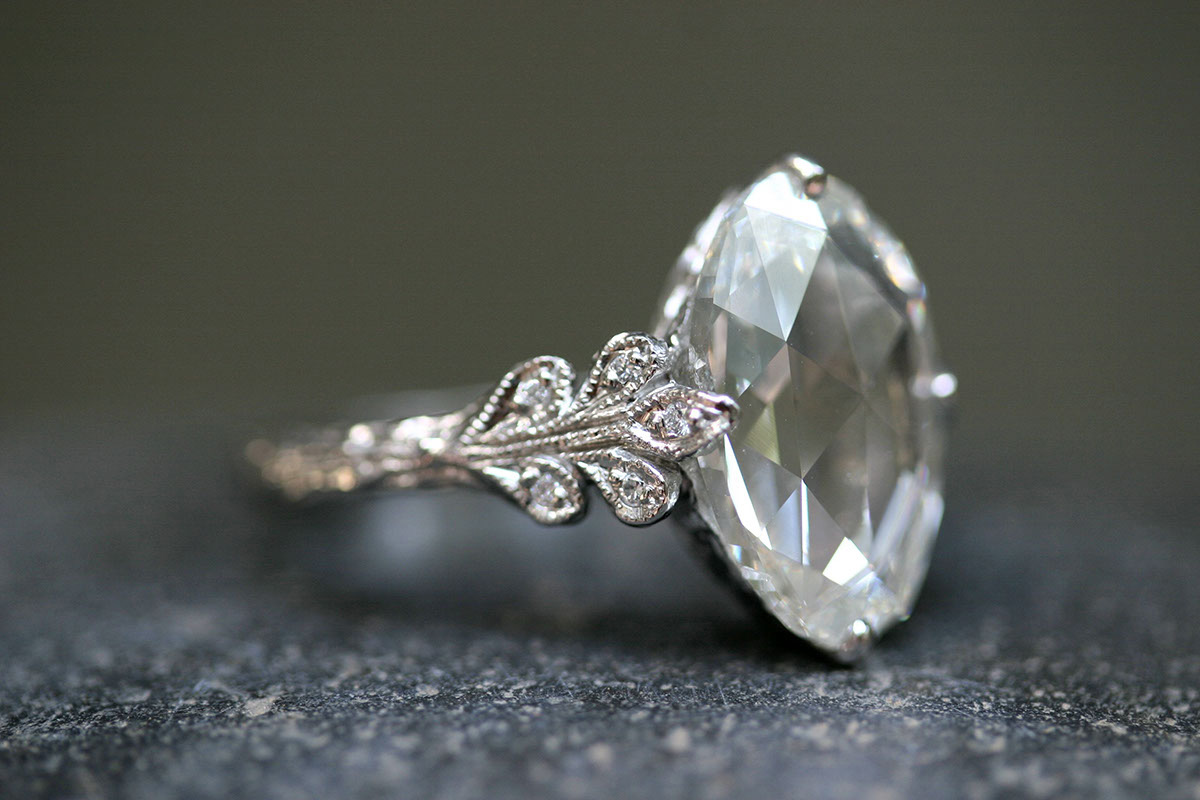 Recycled Platinum Leafside Ring with Ethically Sourced Rose Cut and White Diamonds, solitaire, LOML, leaf, leaves, wedding, engagement, love of my life, leaf side
