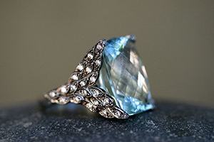 Recycled Platinum Winged Creature Ring with Ethically Sourced Aqua and Diamonds, colored stone, feathers, leaf, leaves, fin, tail, colored
