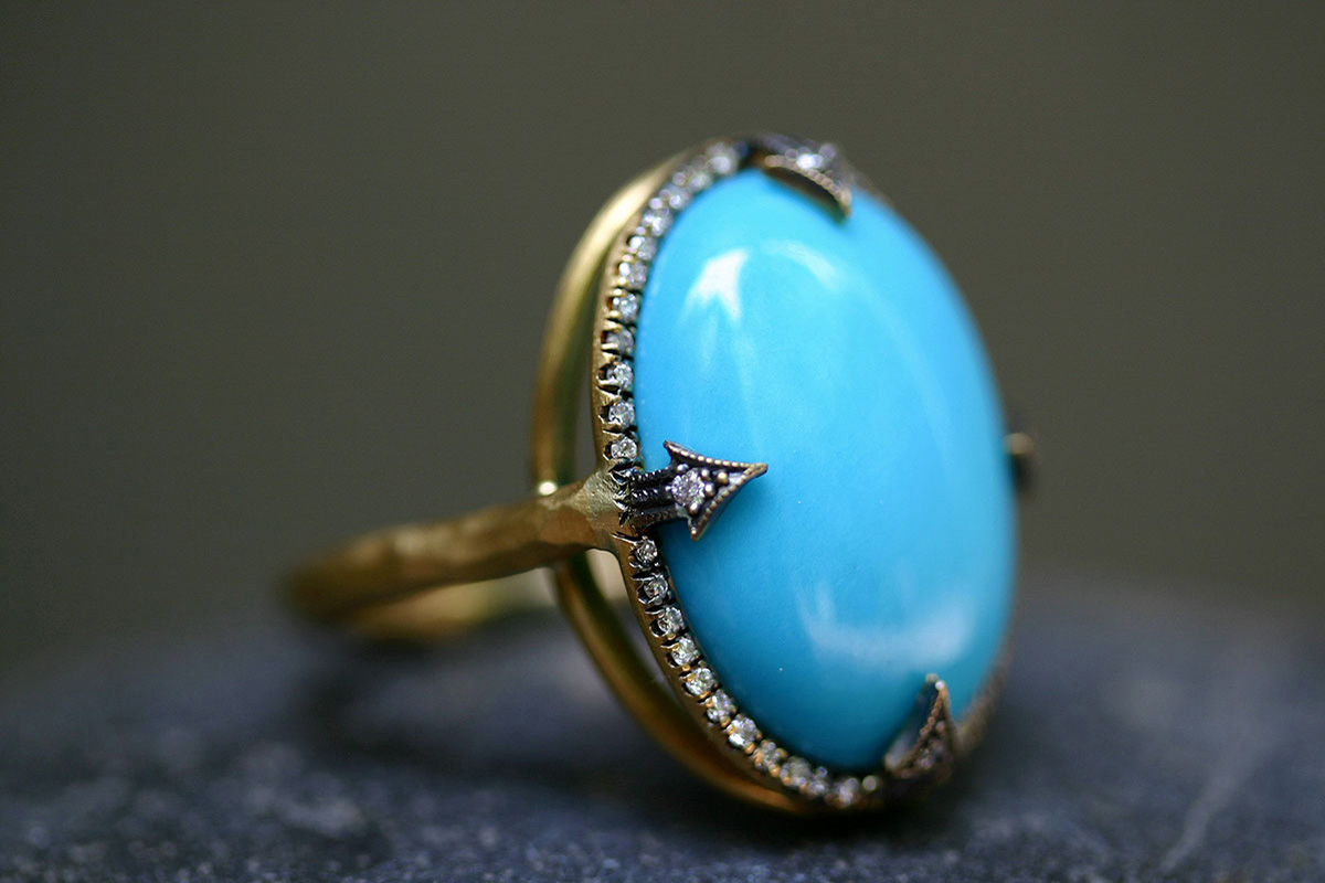 22K Recycled Gold Micropave Thorn Set Ring with Ethically Sourced Turquoise and Diamonds, yellow, colored stone, blackened, colored