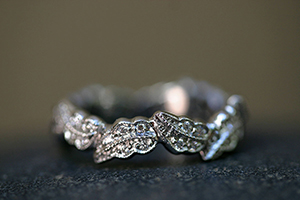 Recycled Platinum Continuous Leaf Band with Ethically Sourced Diamonds, leaves, nesting