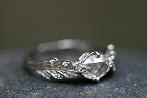Recycled Platinum Double Leaf Ring with Ethically Sourced Oval Mogul and White Diamonds, solitaire, leaf, leaves, leafside, wedding, engagement, leaf side