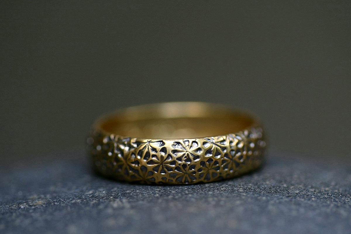 22K Recycled Blackened Gold Textured Flower Band, yellow, mens, men's, man, unisex