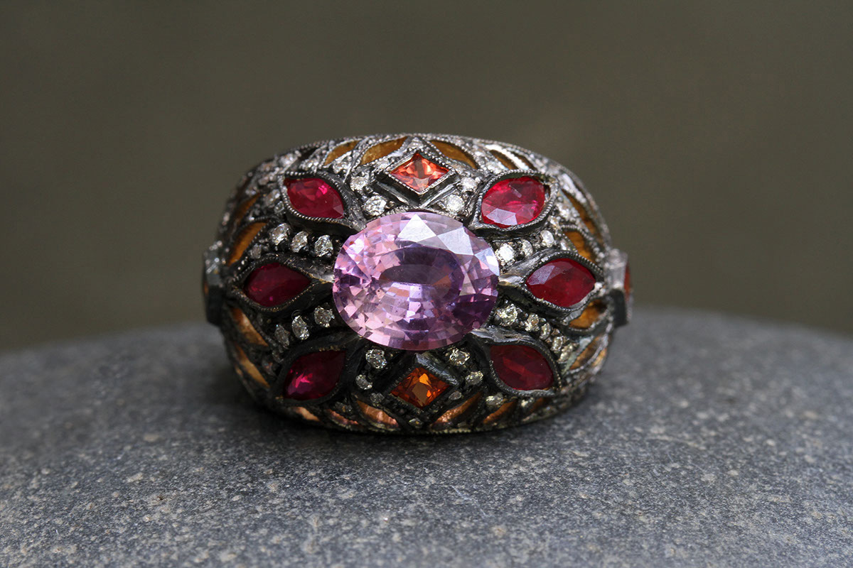 22K Recycled Blackened Gold Stained Glass Ring with Ethically Sourced Sapphires, Rubies and Diamonds, yellow, colored stone, cut out, petal, flower, colored