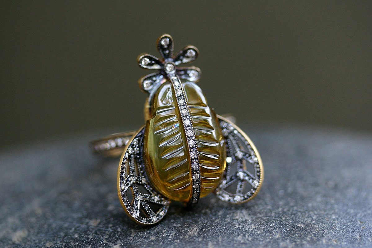 22K Recycled Blackened Gold Bee Ring with Ethically Sourced Yellow Tourmaline and Diamonds, colored stone, yellow, flower, daisy, insect