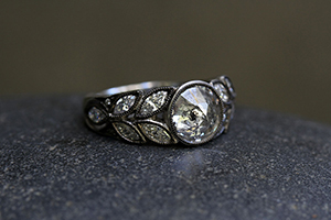 Blackened Recycled Platinum Garland Ring with Ethically Sourced Rustic and White Diamonds , leaf, leaves, solitaire, wedding, engagement