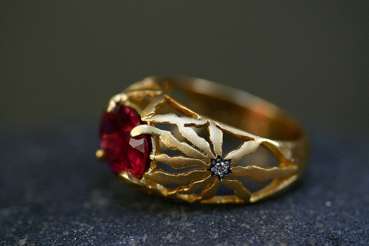22K Recycled Gold Long Petal Cut Out Ring with Ethically Sourced Rubellite and Diamonds, flower, blackened, yellow, colored stone, colored