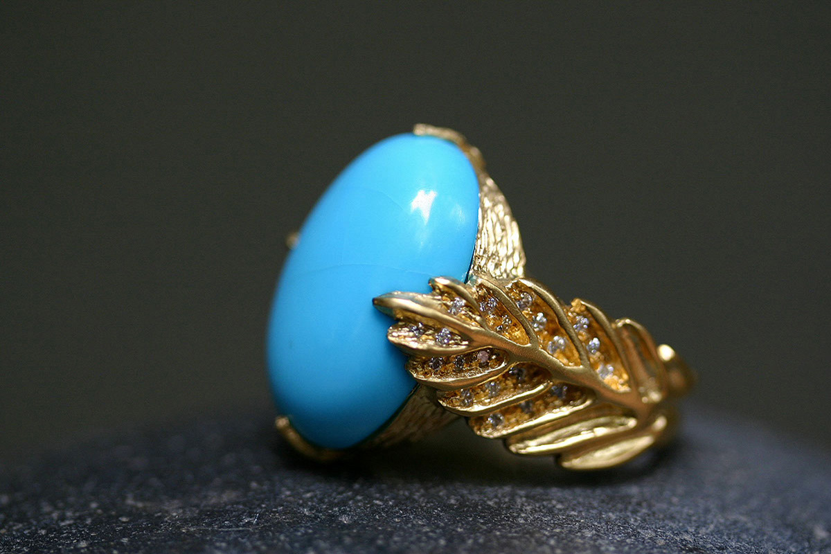 22K Recycled Gold Leaf Ring with Ethically Sourced Turquoise and Diamonds, yellow, branch, leafside, leaves, colored stone, leaf side, colored