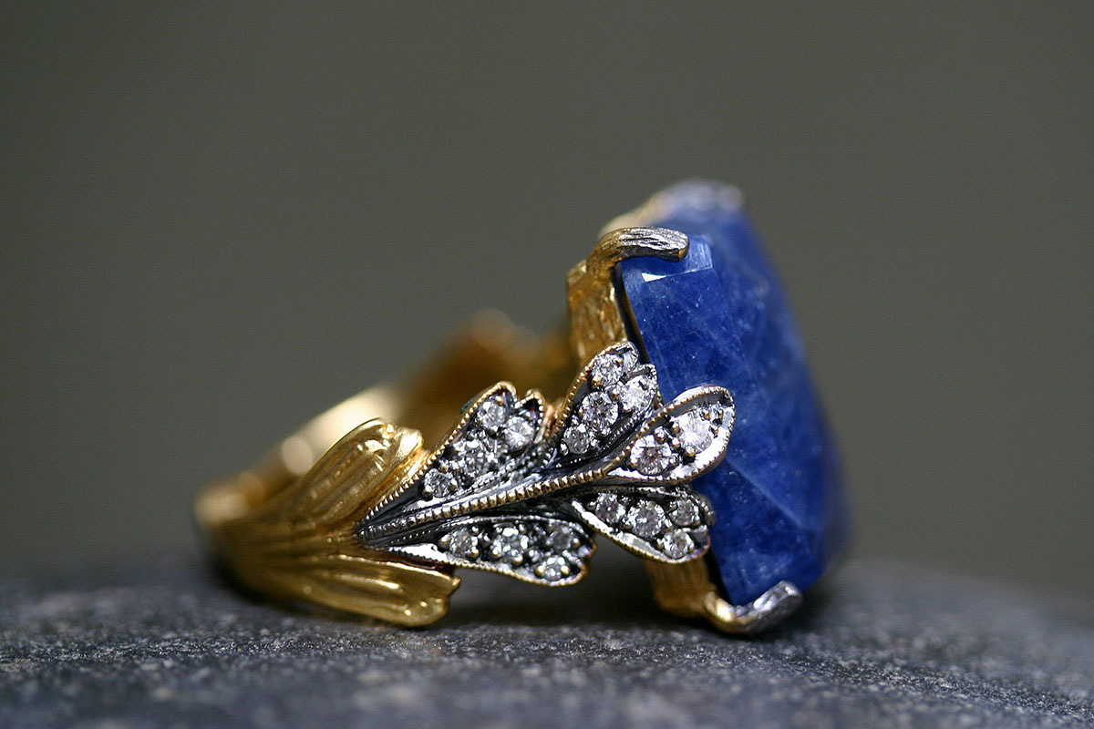 22K Recycled Gold Blackened Leaf Ring with Ethically Sourced Blue Sapphire and Diamonds, colored stone, yellow, solitaire, leafside, leaves, wedding, engagement, leaf side, colored