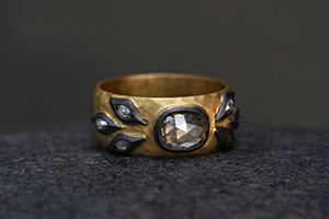 22K Recycled Gold Blackened Marquis Leaf Hammered Band with Ethically Sourced Grey Mogul and White Marquise Diamonds, leaves, yellow, solitaire