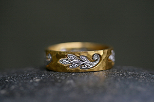 22K Recycled Gold and Platinum Floating Paisley Leaf Band with Ethically Sourced Diamonds, yellow, hammered, leaves, cut out, mixed metal