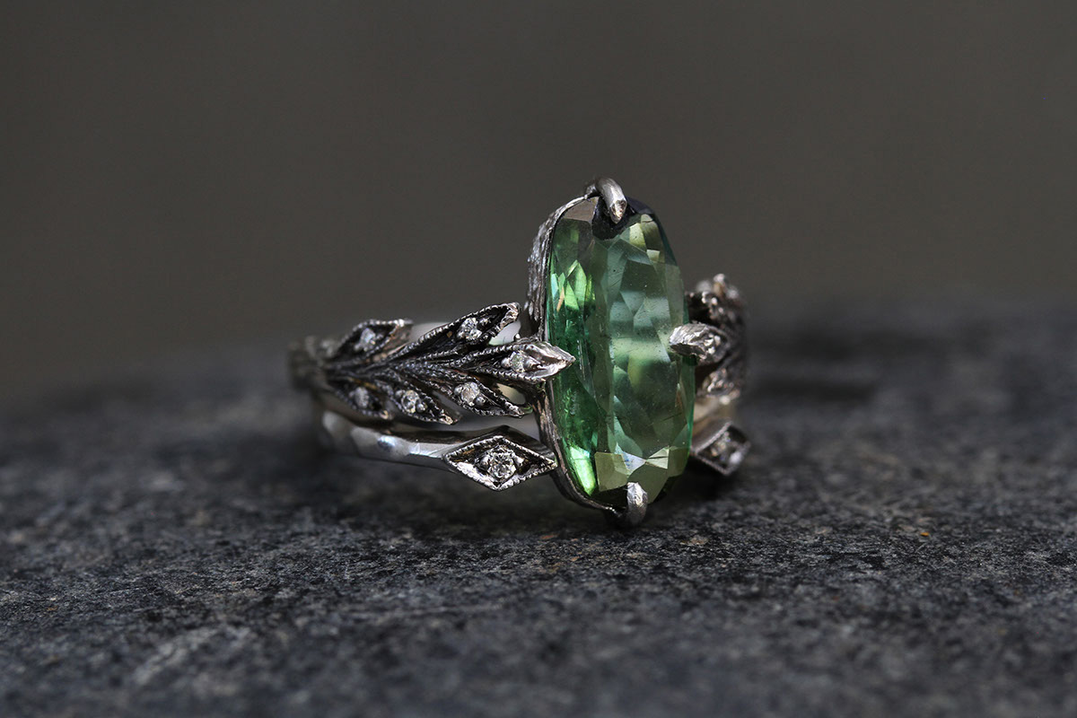 Recycled Platinum Leafside Ring with Ethically Sourced Green Tourmaline and Diamonds, Recycled Platinum Open Arrow Ring with Ethically Sourced Diamonds, leaf, leaves, colored stone, solitaire, wedding, engagement, nesting, colored, leaf side