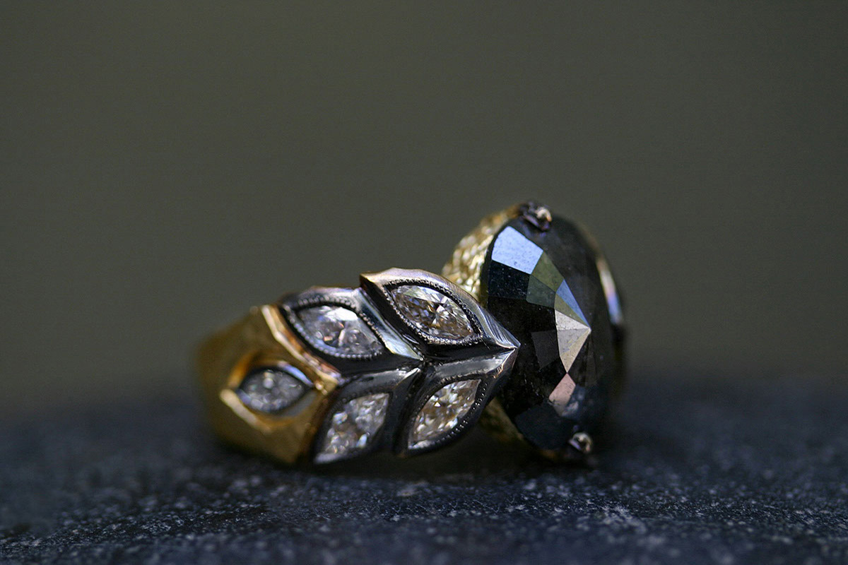 22K Recycled Blackened Gold Garland Ring with Ethically Sourced Black and Rustic Diamonds, yellow, leaves, leaf, leafside, solitaire, wedding, engagement