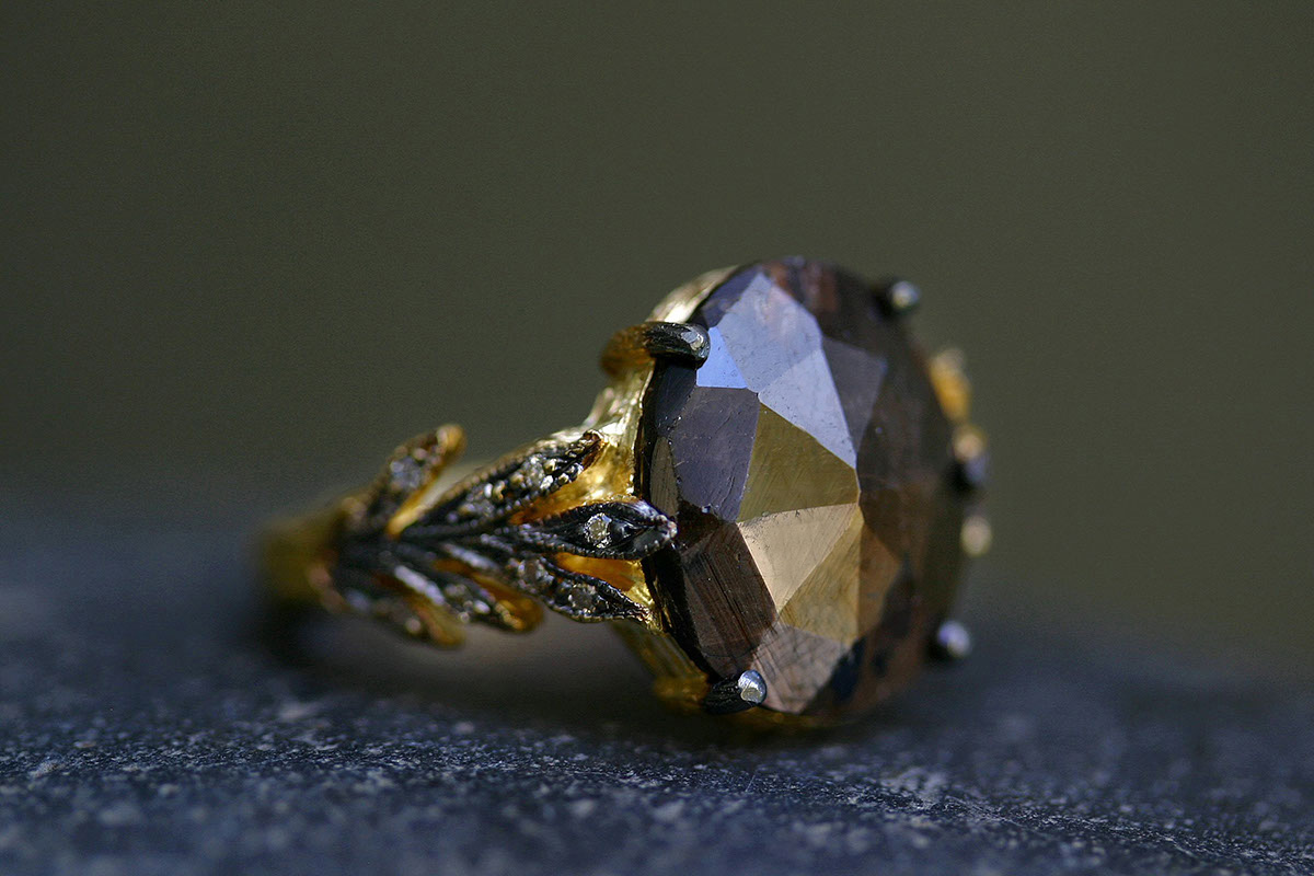 22K Recycled Gold Double Leaf Ring with Ethically Sourced Black Sapphire and Diamonds, yellow, colored stone, leaves, leafside, solitaire, wedding, engagement, colored