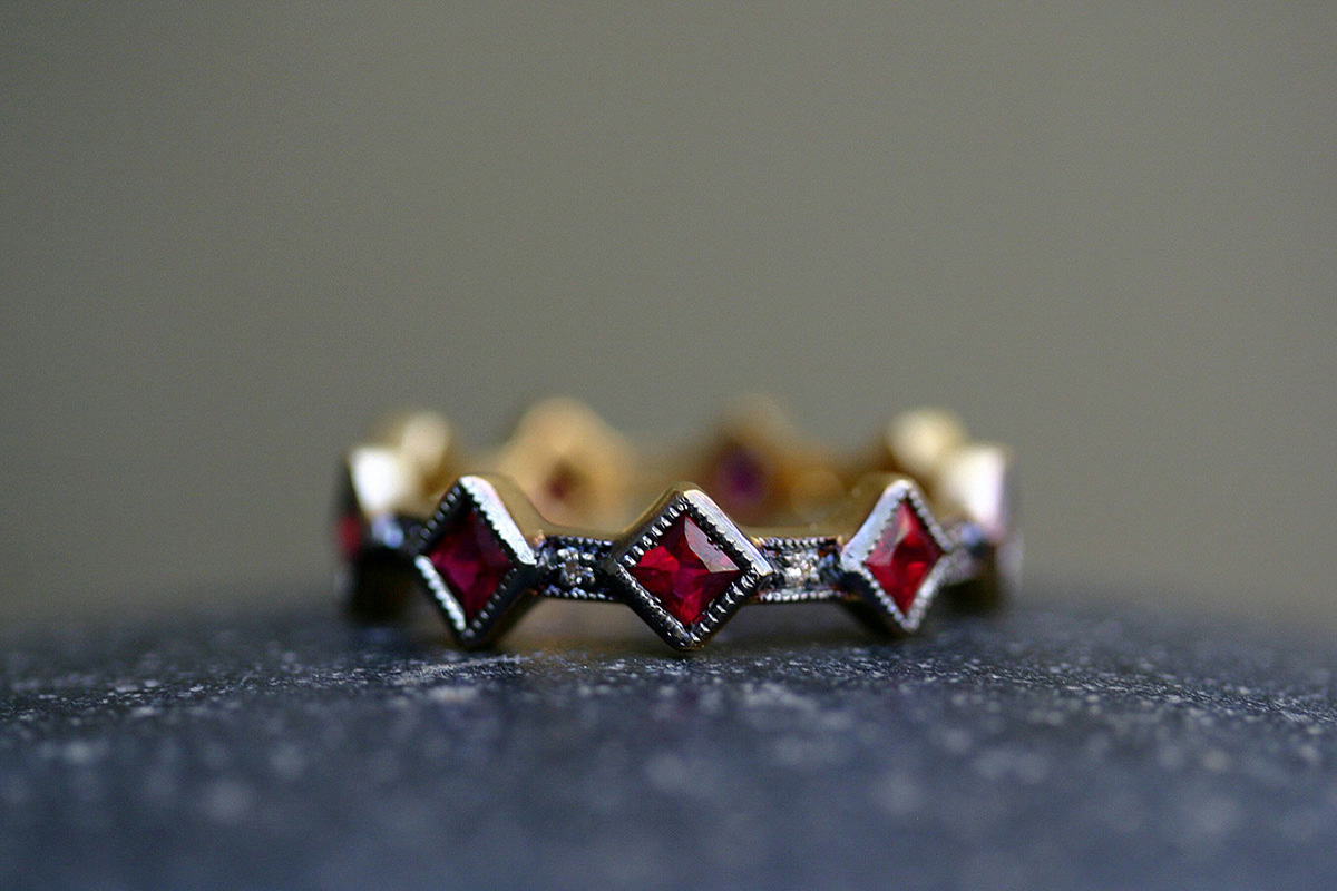 22K Recycled Blackened Gold Diamond Band with Ethically Sourced Rubies and Diamonds, yellow, colored stone, nesting, colored