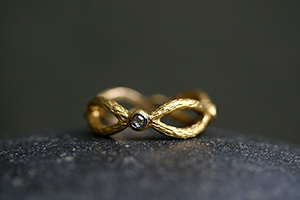 22K Recycled Gold Crossed Branch Band with Ethically Sourced Diamonds, nesting, thin, narrow, delicate