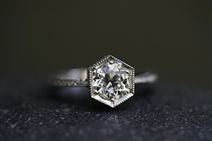 Recycled Platinum Engraved Hexagonal Bezel Set Ring with Ethically Sourced Old Mine Cut and White Diamonds, solitaire, hex, wedding, engagement