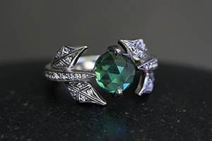 Recycled Platinum Leaf and Vine Ring with Ethically Sourced Blue-Green Tourmaline and Diamonds, leaves, colored stone, nature, solitaire, wedding, engagement, colored