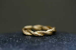 22K Recycled Gold Twisted Branches Band, yellow, vine