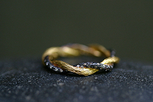 22K Recycled Blackened Gold Twisted Branch Ring with Ethically Sourced Diamonds, yellow, vine