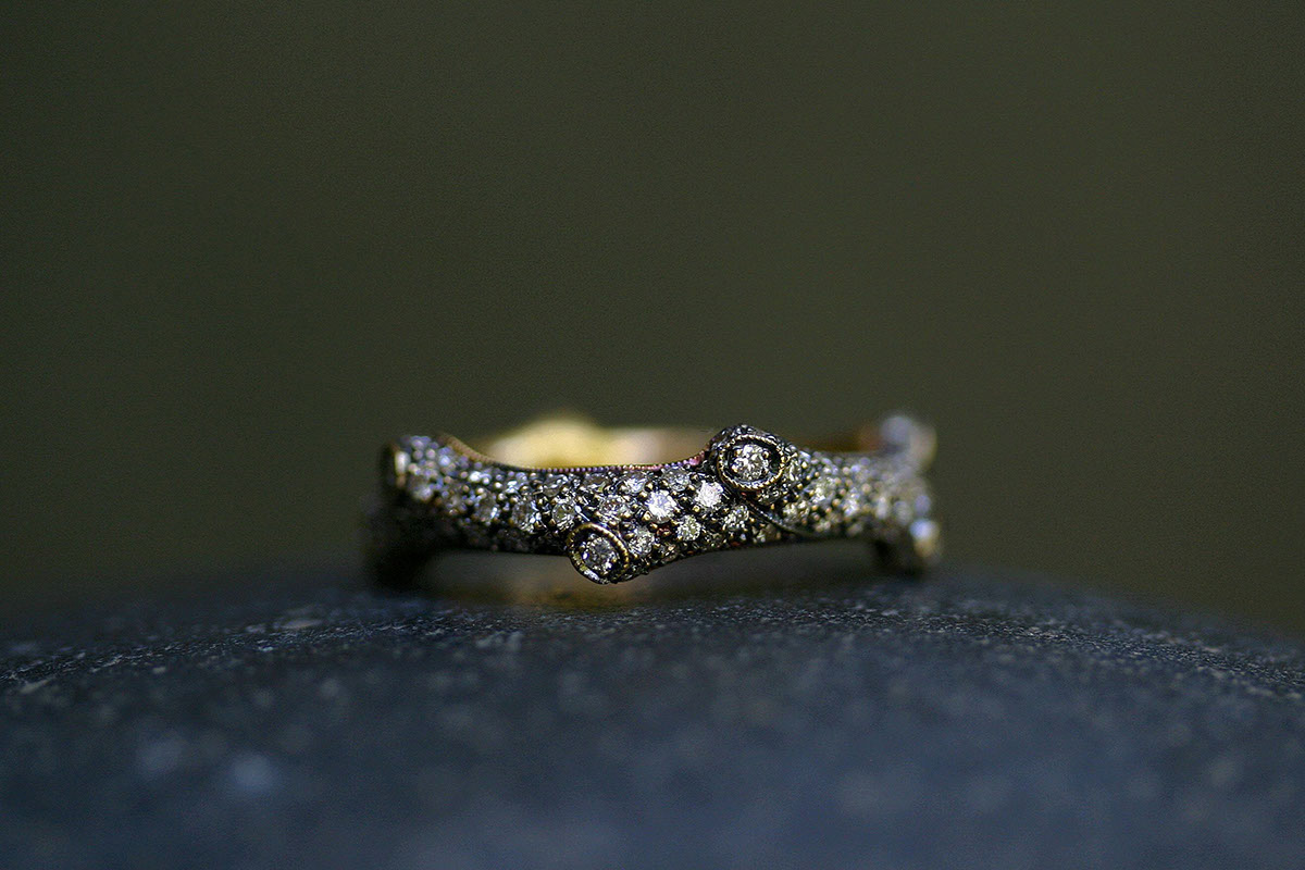 22K Recycled Blackened Gold Tree Branch Band with Ethically Sourced Diamonds, yellow
