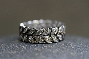 Recycled Platinum Laurel Band with Ethically Sourced Diamonds, leaf, leaves, vine