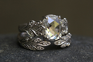 Recycled Platinum Oak Leafside Ring with Ethically Sourced Rose Cut and White Diamonds, Recycled Platinum Open Leafside Ring with Ethically SourcedDiamonds, solitaire, leaf side, leaf, leaves, branch, nature, wedding, engagement, nesting