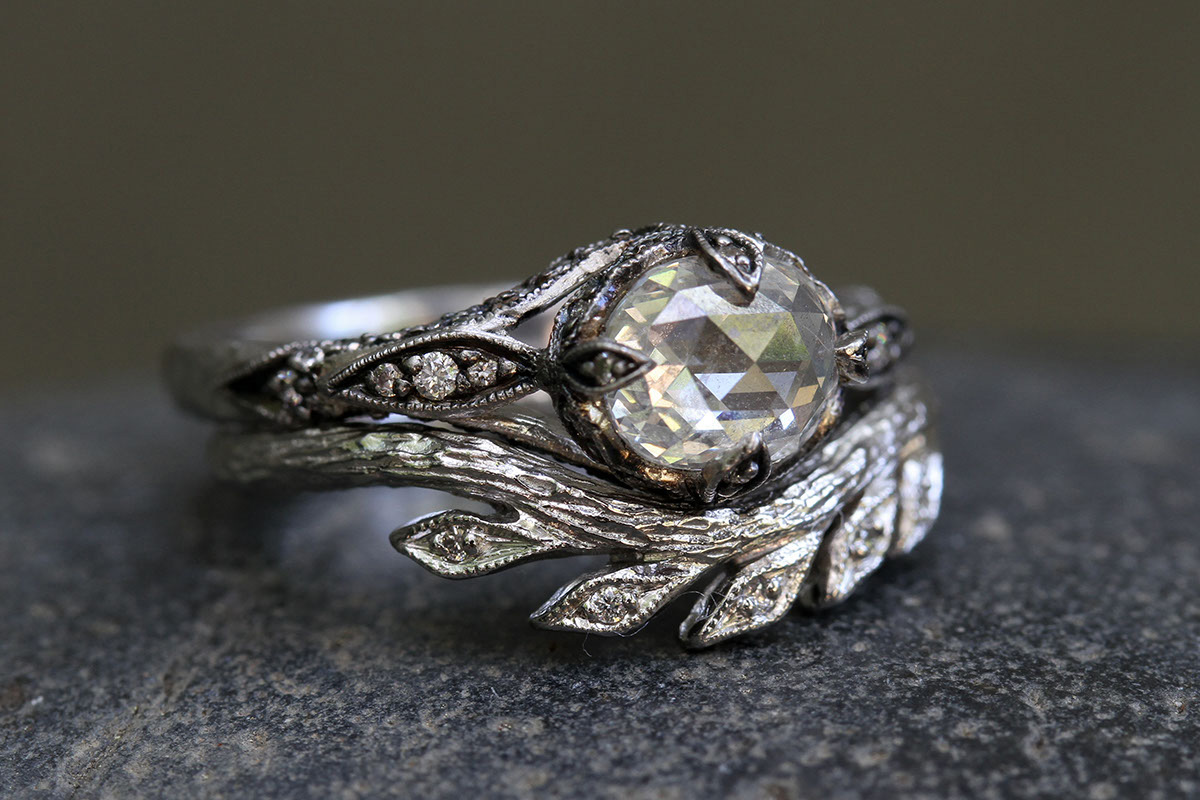 Blackened Recycled Platinum Petal Side Ring Set with Ethically Sourced Rustic and White Diamonds, Recycled Platinum Curved Wheat Band with Ethically SourcedDiamonds, solitaire, leaf, leaves, wedding, engagement, nesting