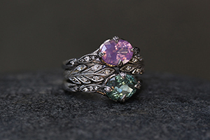 Blackened Recycled Platinum Petal Side Ring with Ethically Sourced Pink Spinel and Diamonds, Recycled Platinum Open Leafside Ring with Ethically Sourced Diamonds, Blackened Recycled Platinum Petal Side Ring with Ethically Sourced Sea Green Tourmaline and Diamonds, leaf side, leaf, leaves, colored stone, solitaire, wedding, engagement, nesting, colored