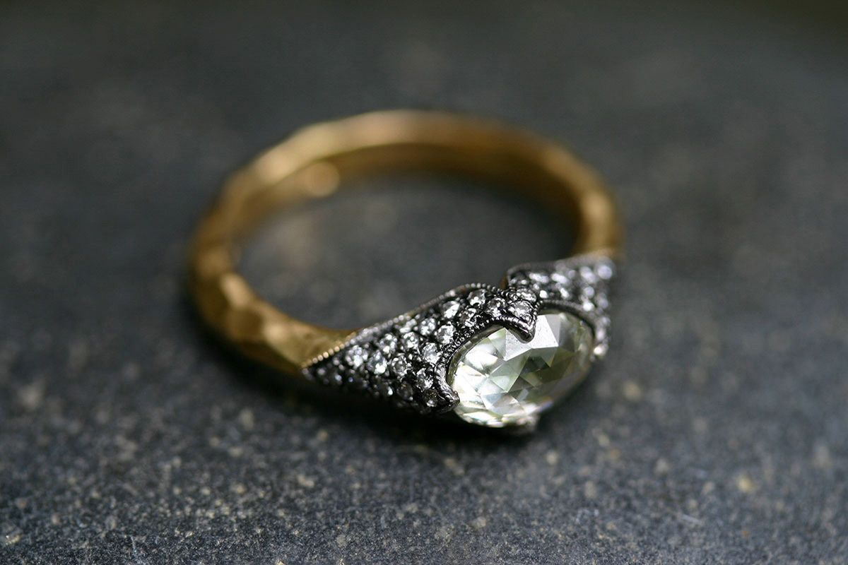 22K Recycled Gold and Blackened Platinum Poet's Ring with Ethically Sourced Grey Mogul and White Diamonds, solitaire, yellow, mixed metal, wedding, engagement