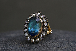 22K Recycled Blackened Gold Lace Edged Ring with Ethically Sourced Indicolite Tourmaline and Rose Cut Rustic Diamonds, colored stone, yellow, branch, colored