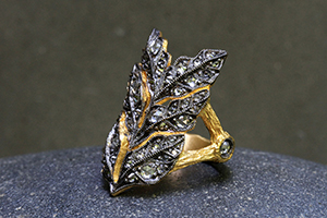 22K Recycled Blackened Gold Jeweled Forest Ring with Ethically Sourced Rose Cut and White Diamonds, yellow, leaf, leaves, branch
