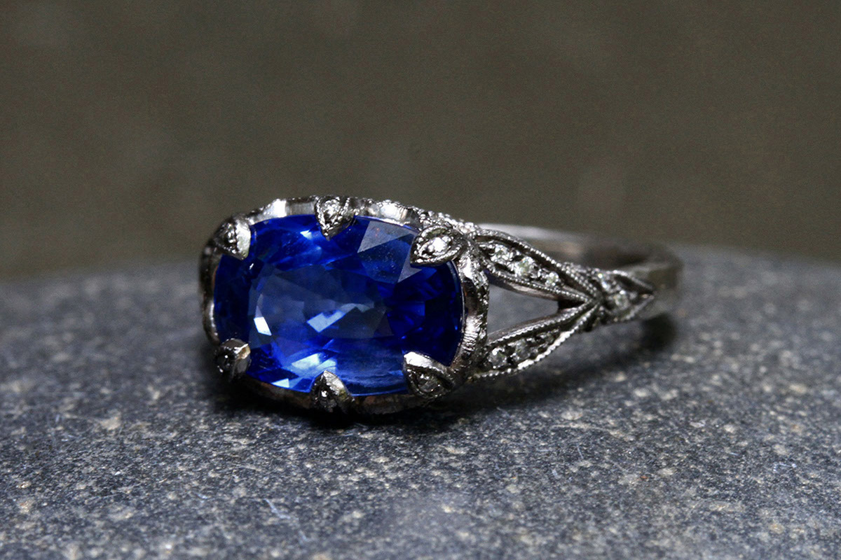Blackened Recycled Platinum Petal Prong Ring with Ethically Sourced Blue Sapphire and Diamonds, colored stone, solitaire, wedding, engagement, colored