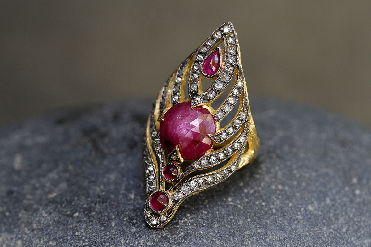 22K Recycled Blackened Gold Seashell Ring with Ethically Sourced Rubies and Diamonds, colored stone, yellow, cut out, branch, thorn, colored