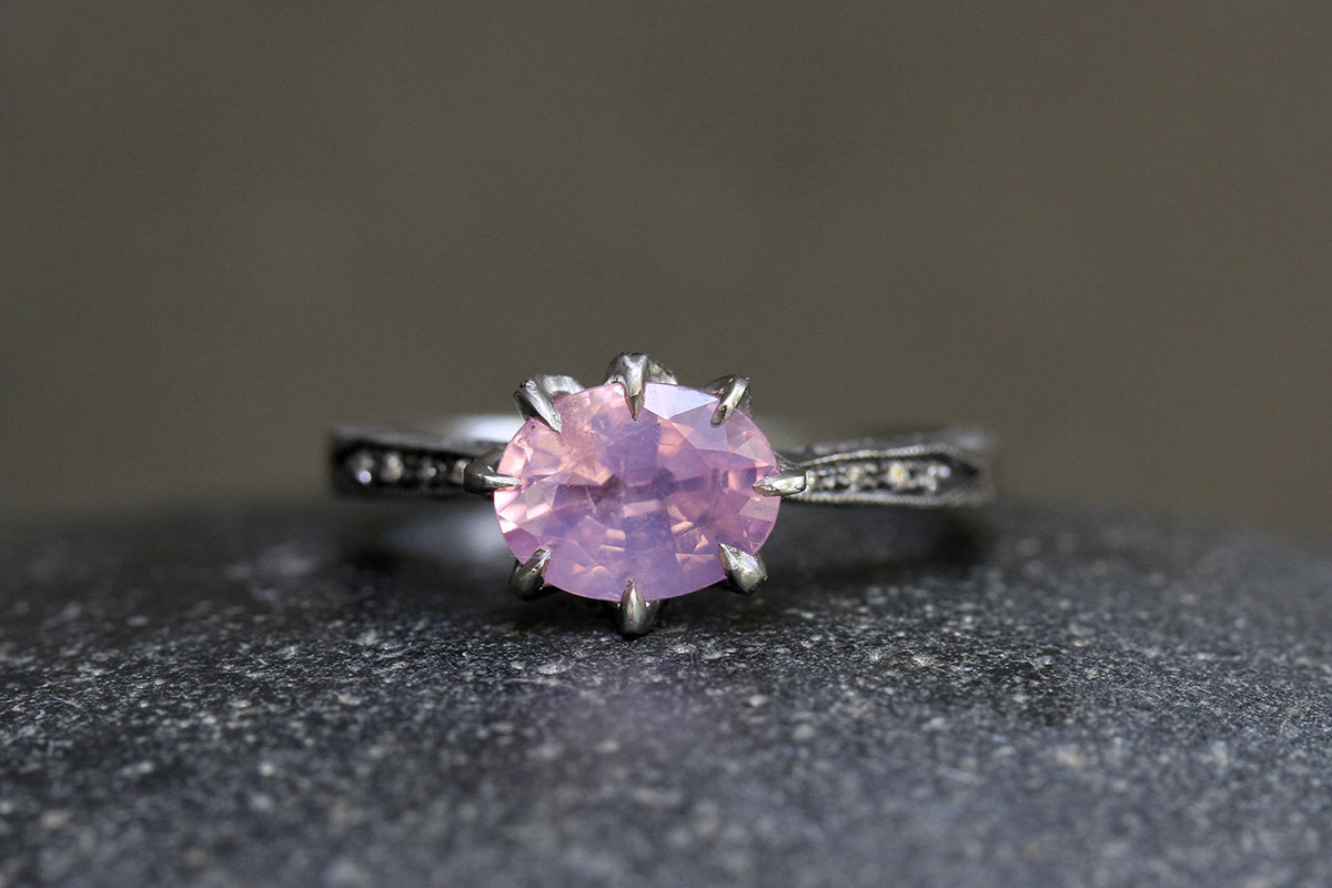 Blackened Recycled Platinum Spider Prong Ring with EthicallySourced Pink Spinel and Diamonds, solitaire, colored stone, wedding, engagement, colored