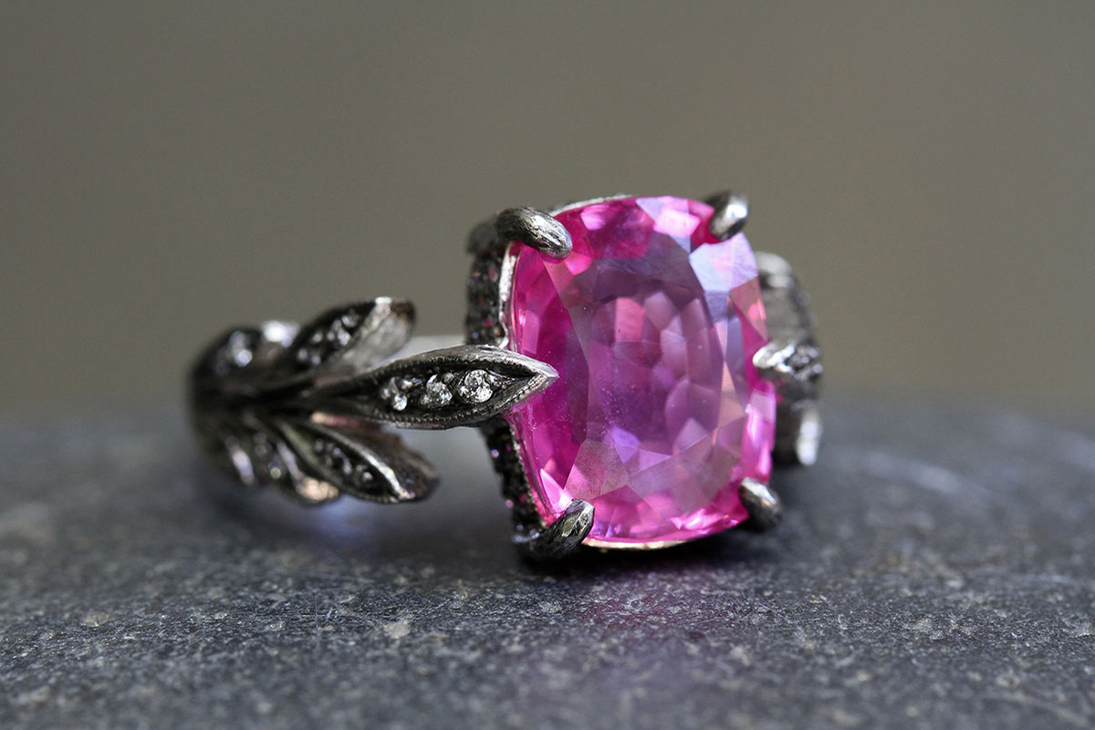 Blackened Recycled Platinum Leafside Ring with Ethically Sourced Pink Sapphire and Diamonds, leaf side, leaves, colored stone, leaf, solitaire, wedding, engagement, colored
